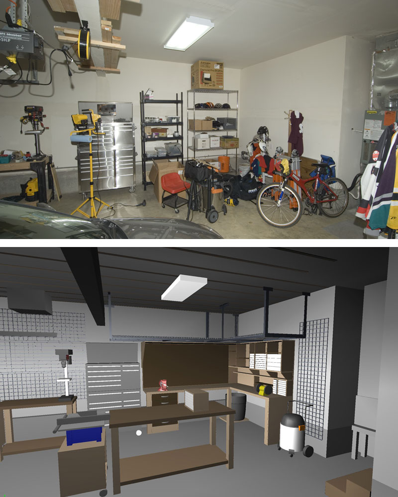 Garage/Shop Corner L-shape Workbench Design
