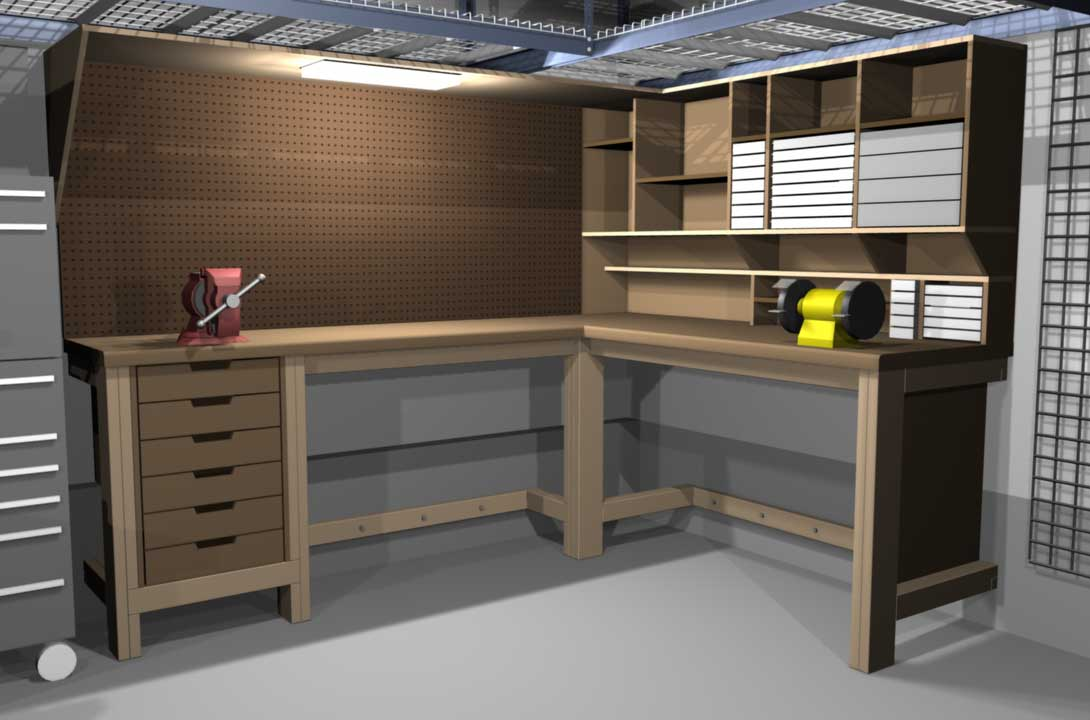 Garage shop corner l shape workbench design woodworking for Design my garage